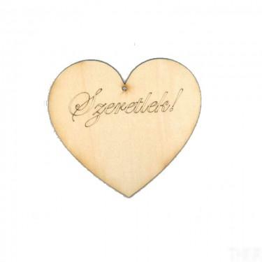 Festhető fafigura Szeretlek felirat szívben 10 cm 1 db/cs