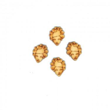 Festhető mini fafigura Velencei női maszk 6 db/cs