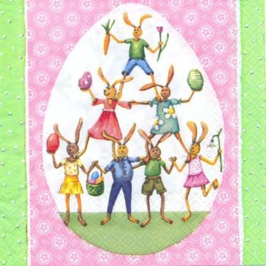 Dekorszalvéta - Bunny Circus Pink/Green