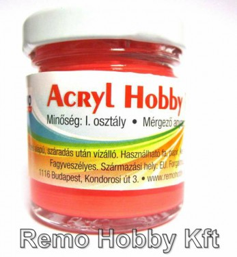 Akrilfesték REMO Hobby / fluoreszkáló Sötétnarancs 40 ml