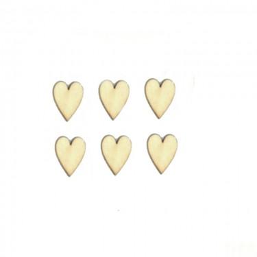 Festhető mini fafigura Nyújtott szív 6 db/cs