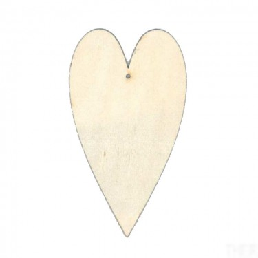 Festhető fafigura Nyújtott szív 18 cm 1 db/cs