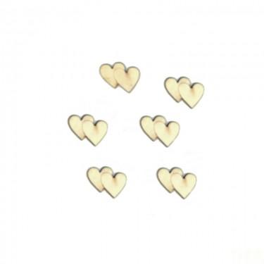 Festhető mini fafigura Dupla szív 6 db/cs