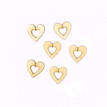 Festhető mini fafigura Lyukas szív 6 db/cs