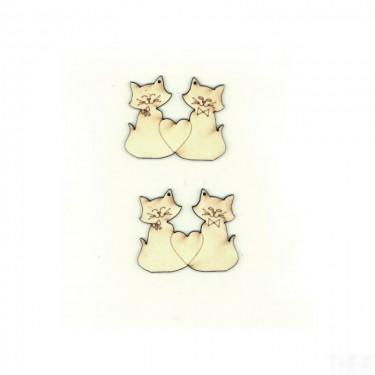 Festhető fafigura Szerelmes macskák 2 db/cs