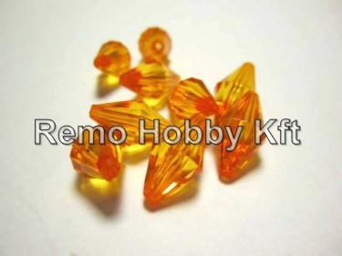 Csiszolt gyémánt alakú gyöngy Narancssárga 15 mm 10 g