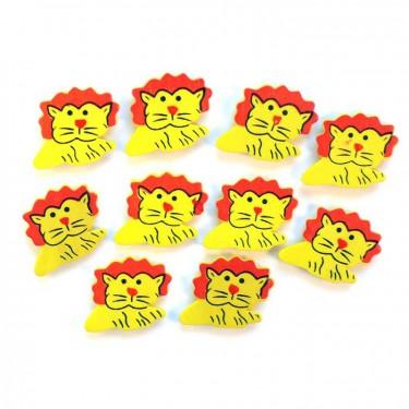 Ragasztható festett fafigura - Sárga oroszlán