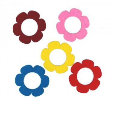Filcfigura Lapos szirmú virág (lyukas) 6 cm 5 db/cs