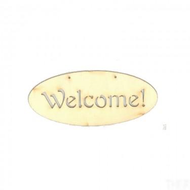 Festhető fafigura Welcome! tábla 14x6 cm 1 db/cs