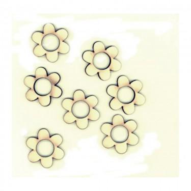 Festhető mini fafigura Virág (lyukas) 6 db/cs