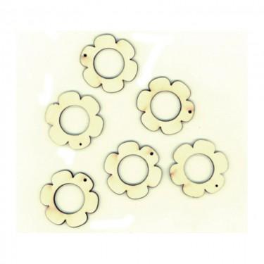 Festhető mini fafigura Lapos szirmú virág (lyukas) 6 db/cs