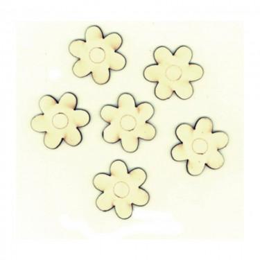 Festhető mini fafigura Hatszirmú virág 6 db/cs