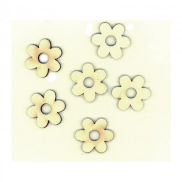 Festhető mini fafigura Hatszirmú virág (lyukas) 6 db/cs