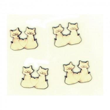 Festhető mini fafigura Szerelmes macskák 4 db/cs