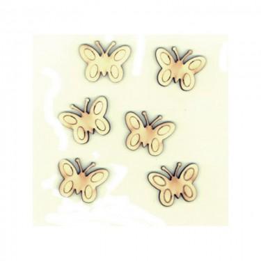 Festhető mini fafigura Pillangó mintás 6 db/cs