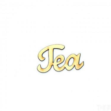 Festhető fafigura Tea felirat nagy 9x5.5 cm 1 db/cs