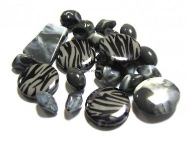 Csíkos gyöngy Vegyes szürke-fekete 50 g