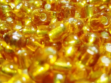 Ezüstközepű kásagyöngy Napsárga 4 mm 20 g
