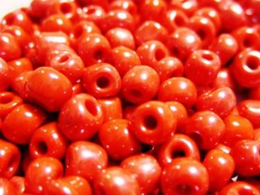 Selyemfényű kásagyöngy Piros 4 mm 20 g