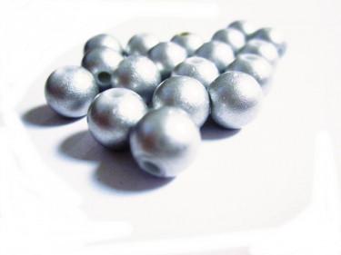Műanyag teklagyöngy Matt ezüst 8 mm 10 g