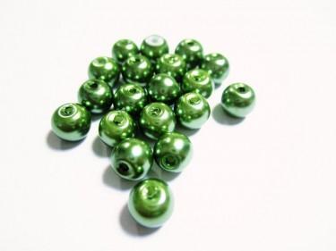 Üveg teklagyöngy Smaragdzöld 6 mm 10 g