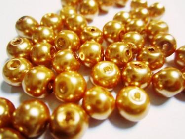 Üveg teklagyöngy Arany 6 mm 10 g