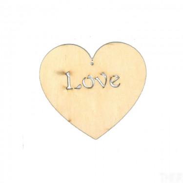 Festhető fafigura Love felirat szívben 15 cm 1 db/cs