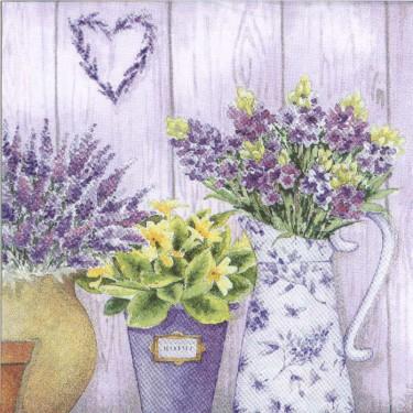 Dekorszalvéta - Lilac Flowers with Heart