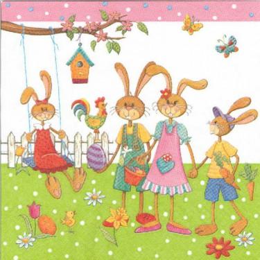 Dekorszalvéta - Famiglia (bunny)
