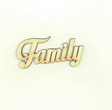 Festhető fafigura Family felirat kicsi 9.5x4.5 cm 1 db/cs