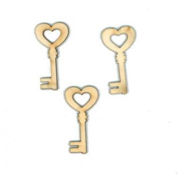 Festhető fafigura Szíves kulcs 3 db/cs