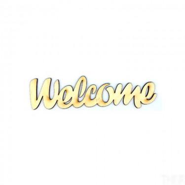 Festhető fafigura Welcome felirat kicsi 9.5x2.5 cm 1 db/cs
