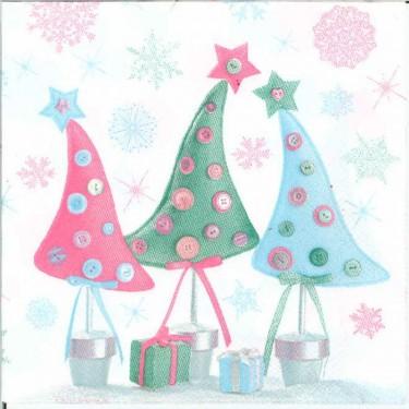 Dekorszalvéta - Gombos karácsonyfák