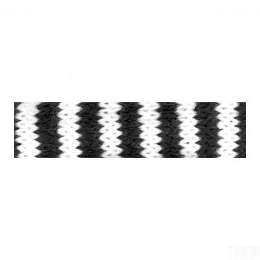 Hengerelt kötött méteráru Fekete-fehér csíkos 1 m