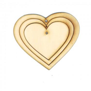 Festhető fafigura Összerakható szív 14 cm 3 db/cs
