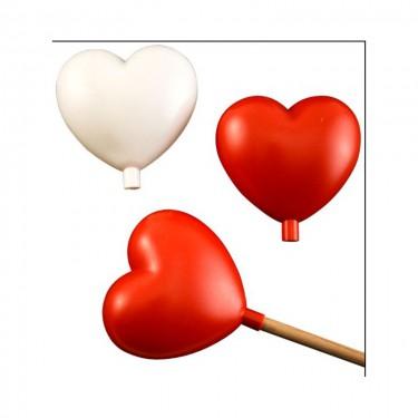 Pálcára szúrható műanyag szív piros 5 db