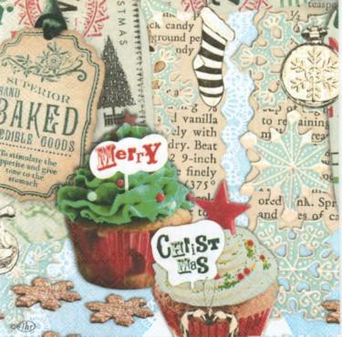 Dekorszalvéta - Christmas Cupcakes