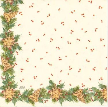 Dekorszalvéta - Christmas Girland, Cream