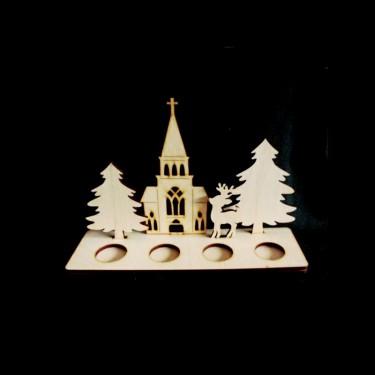 Mécsestartó templom + fenyő 4-es
