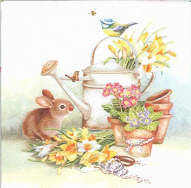 Dekorszalvéta - Bunny with Watering Can