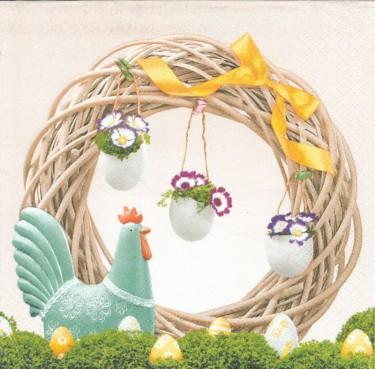 Dekorszalvéta - Easter Wreath with Ceramic