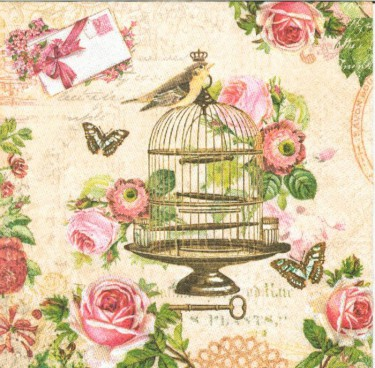 Dekorszalvéta - Bird and Vintage Cage