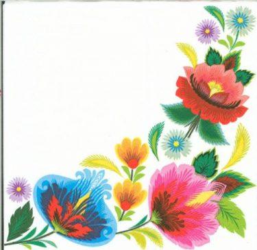 Dekorszalvéta - Floral Folk Frame