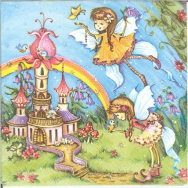Dekorszalvéta - Magic Fairies with Castle