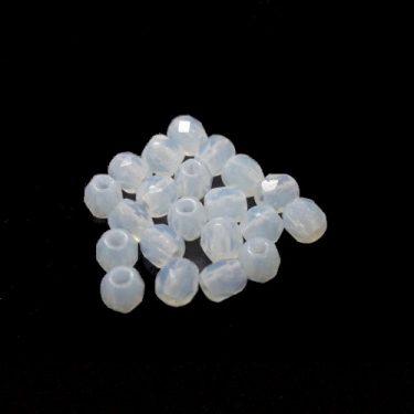 Cseh fazettázott üveggyöngy, matt Fehér 3 mm