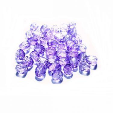 Cseh fazettázott üveggyöngy, átlátszó Lila 3 mm