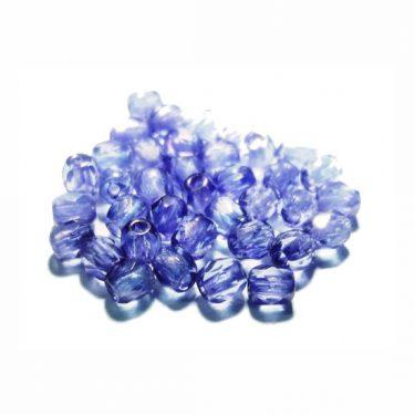 Cseh fazettázott üveggyöngy, átlátszó Sötétlila 3 mm