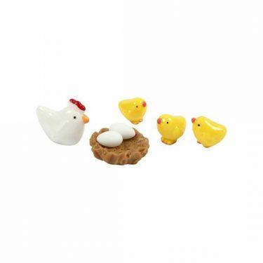 Mini húsvéti figura, tyúkanyó és csibéi 10-20 mm