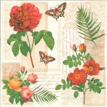 Dekorszalvéta - Flowers and Butterflies on Vintage Background
