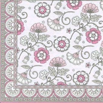 Dekorszalvéta - Kalamkari Pink